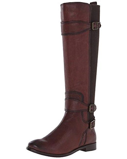 Frye Brown Anna Gore Tall Buffalo Leather Riding Boot
