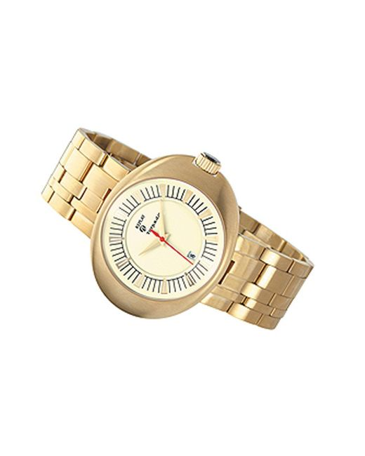 Replay Metallic Gents Grey Dial Gold Plated Bracelet Watch for men