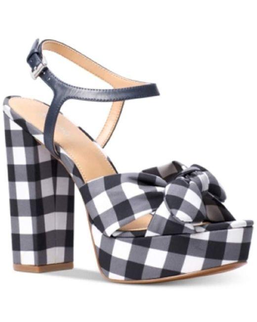 Michael Kors Blue Michael Pippa Gingham Platform Dress Sandals Admiral Size 11M