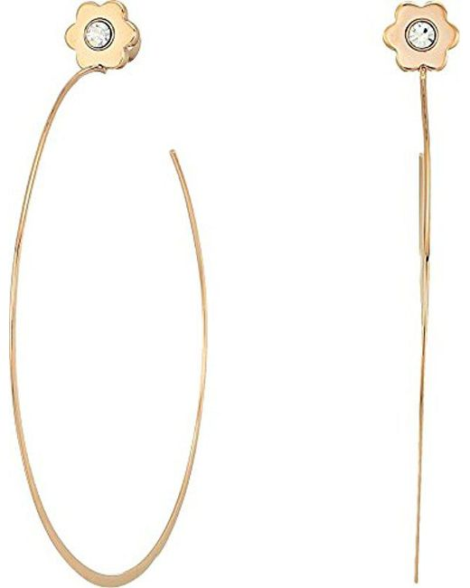 Michael Kors - Metallic S In Full Bloom Floral Stud Hoop Earrings - Lyst