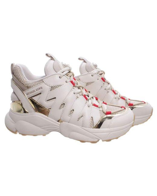 Michael Kors Natural Sneakers 43T0HRFS4D Hero Trainer Cream Leder Fabric