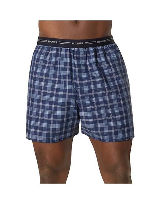 Hanes - Blue 2-pack Exposed Waistband Woven Boxers for Men - Lyst