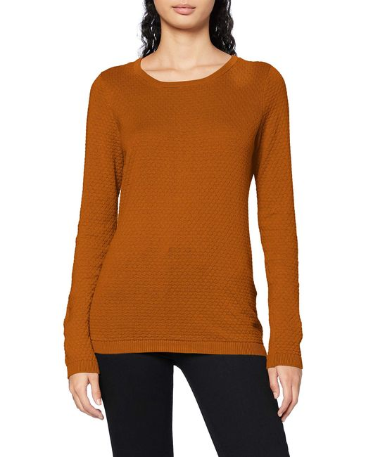 VMCARE Structure LS O-Neck Blouse GANOOS Camicia da Donna di Vero Moda in Brown