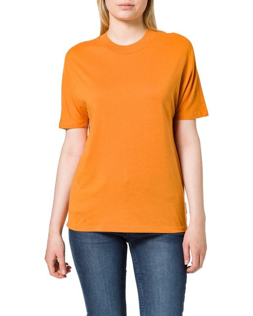 Crew Neck Tee with Grown-On Sleeves T-Shirt di Scotch & Soda in Orange