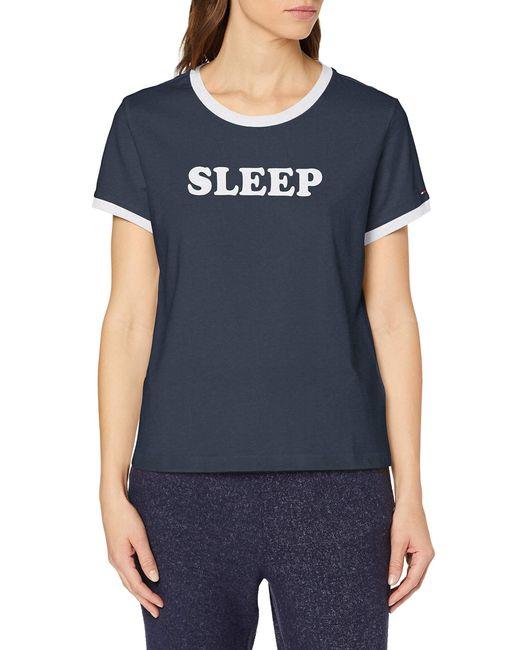 Tommy Hilfiger Blue Ss Tee Slogan Pyjama Top