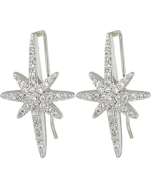 Betsey Johnson - Metallic S Blue By Silver Tone Earrings Climbers With Pave Crystal Accented Starburst - Lyst