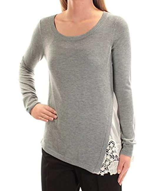 Kensie - Gray Soft Sweater With Eyelet Lace Side - Lyst