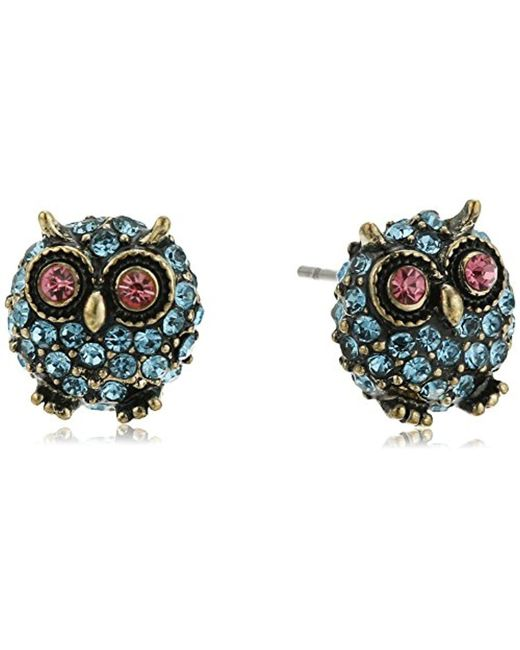 "Betsey Johnson - Blue ""betsey's Delicates"" Pave Owl Stud Earrings - Lyst"