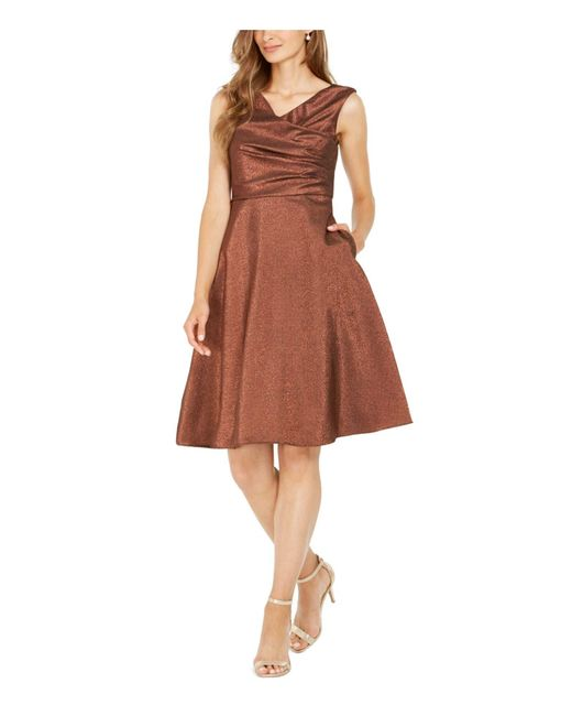 Adrianna Papell Brown Stretch Lame Party Dress