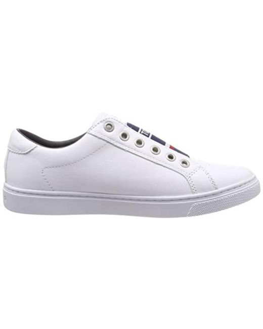 Tommy Elastic City Sneaker, Sneakers Basses Femme de coloris blanc