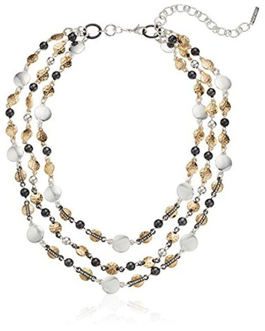 """Nine West - Multicolor Tri-tone And Crystal 16"""" Collar Necklace - Lyst"""