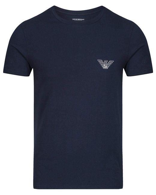 T-shirt à manches courtes en tricot classique,Marine,L Emporio Armani pour homme en coloris Blue