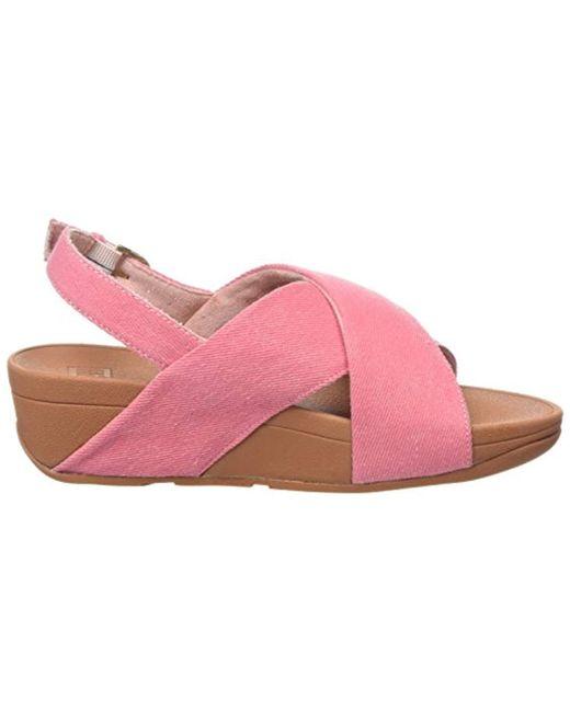 20ad8366b8dd ... Fitflop - Pink Lulu Cross Back-strap Sandals-denim Open Toe - Lyst ...