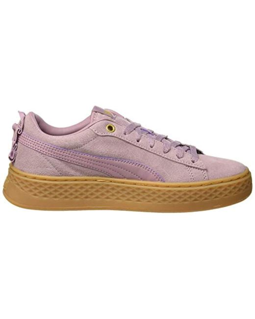 PUMA Smash Platform Frill Low top Sneakers in Purple Lyst