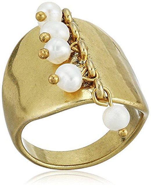 Lucky Brand - Metallic S Gold Pearl Ring, 7 - Lyst