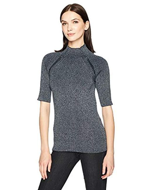 Kenneth Cole - Blue Elbow Sleeve Mock Sweater - Lyst