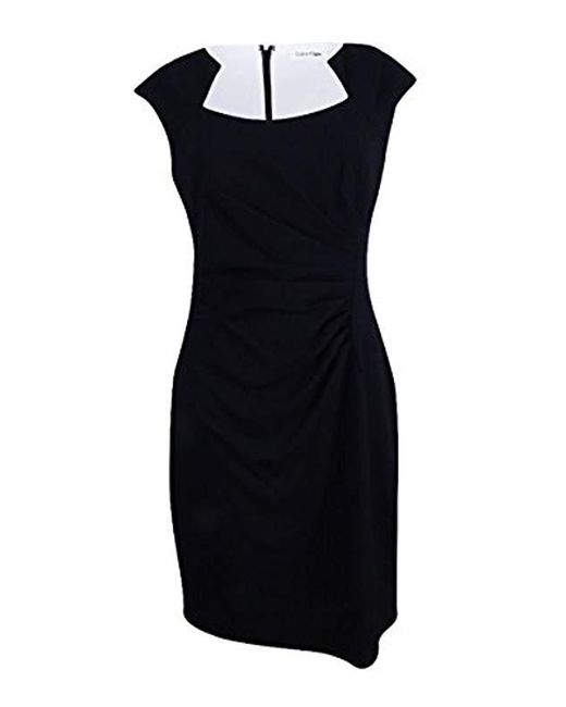 Calvin Klein - Black Plus-size Cap-sleeve Side-rouched Sheath Dress - Lyst