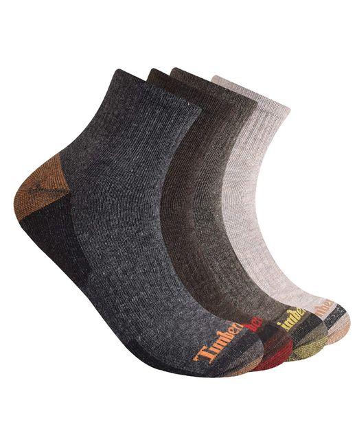 Timberland Brown 4-pack Half Cushioned Quarter Socks for men