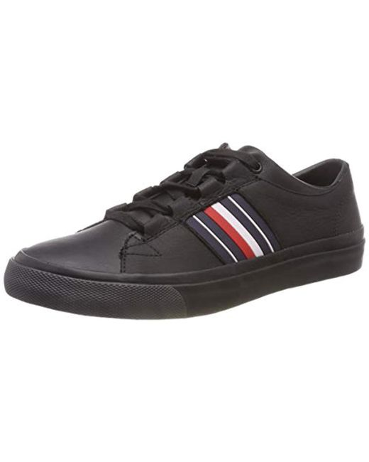 Tommy Hilfiger Black Corporate Leather Low Sneaker Top for men