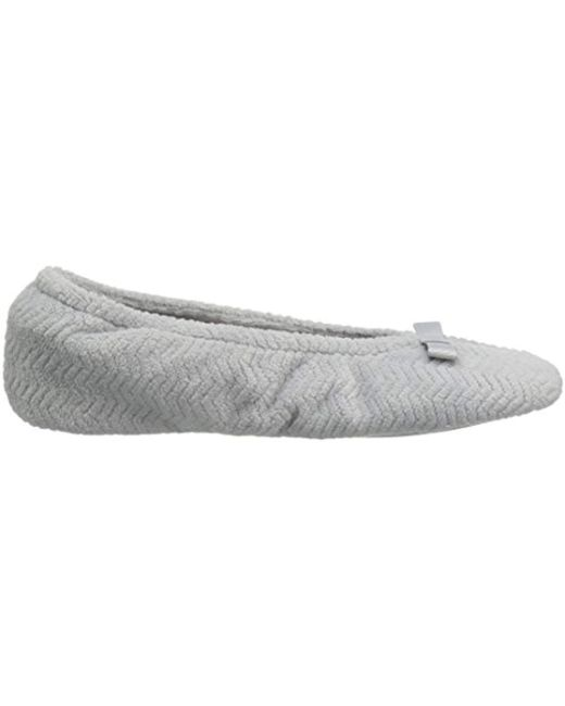 ... Isotoner - Gray Chevron Microterry Ballerina House Slipper With  Moisture Wicking And Fabric Sole For Comfort ... 3b2339a5d707