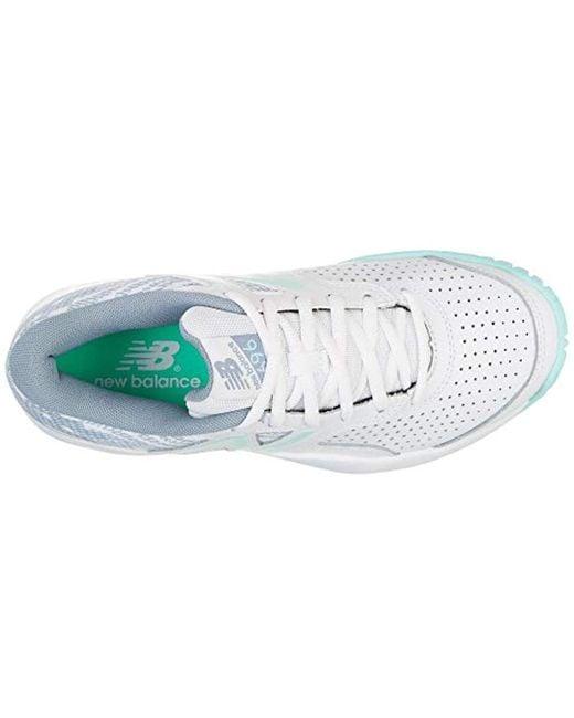 New Balance 696v3 Hard Court Tennis Shoe Whitelight Reef 9