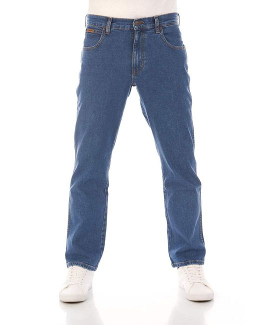 , Jeans da uomo Texas Stretch Regular Fit Jeans Straight Denim pantaloni 99% cotone blu W30-W44 Blue Tomorrow di Wrangler da Uomo