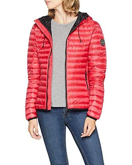 Core Down Hooded Jacket Veste de Sport Femme de coloris rouge