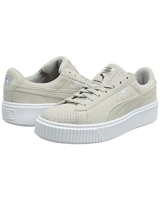 5d966bfb2946 ... PUMA - Gray Suede Platform Perf Trainers - Lyst ...