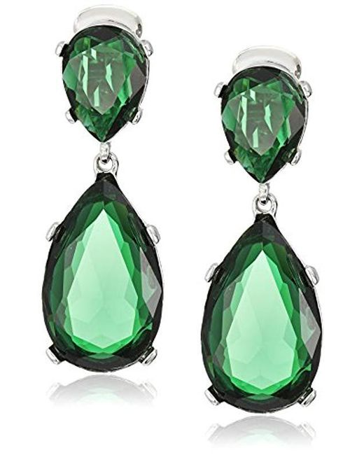 Kenneth Jay Lane Green Emerald Color Teardrop Silver Clip Earrings Lyst