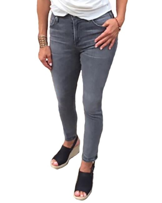 Hart Denim Gray Metallic Mid Rise Skinny Jeans