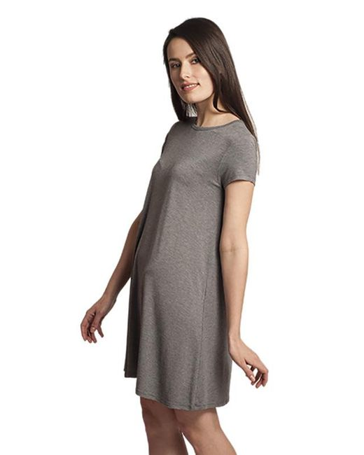Susana Monaco | Gray Pia Short Sleeve Crew Neck Dress In Cloud | Lyst