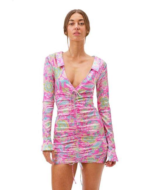 For Love & Lemons Pink Julien Long Sleeve Mini Dress