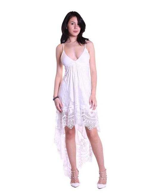 Sky Clothing Collection | Sky Vintage Lace High Low Maxi Dress In White | Lyst