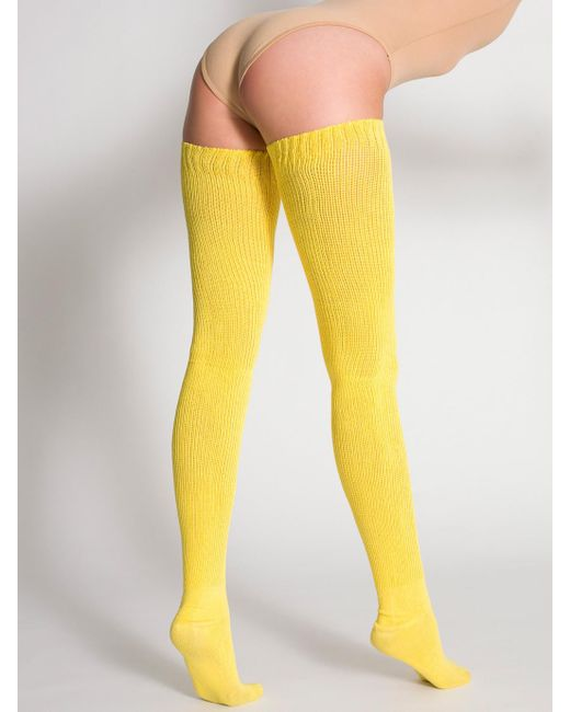 American Apparel Cotton Solid Thigh High Socks In Yellow