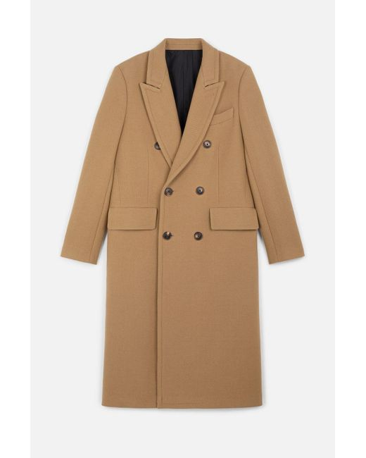 AMI Natural Double-breasted Long Coat for men