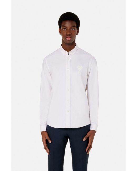AMI White Button-down Big Ami De Coeur Shirt for men