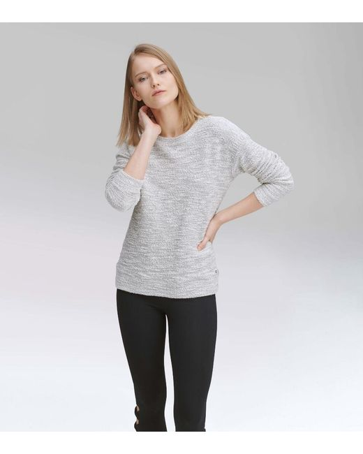 Andrew Marc White Long Sleeve Boucle Crewneck Pullover