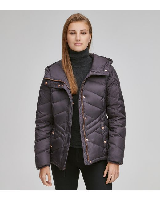 Andrew Marc - Purple Mallory Chevron Quilted Down Coat - Lyst