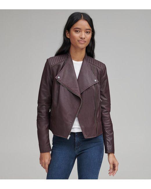 Ladies PURPLE Sheepskin Leather Scuba Style Moto Jacket w// Zipper Front