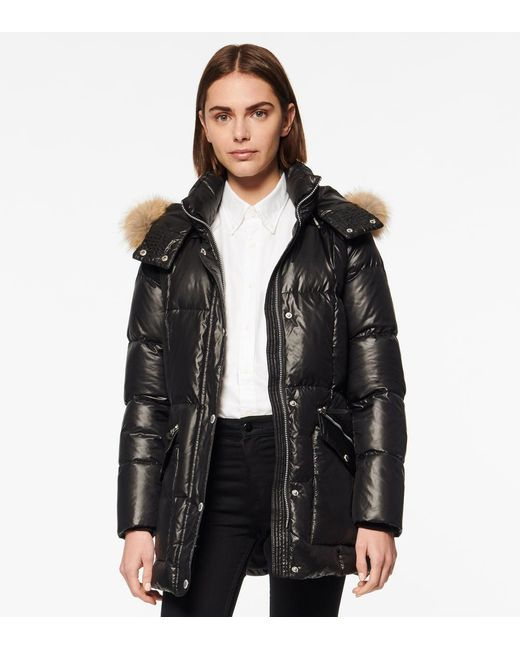 Andrew Marc Black Charlotte Belted Down Puffer Jacket
