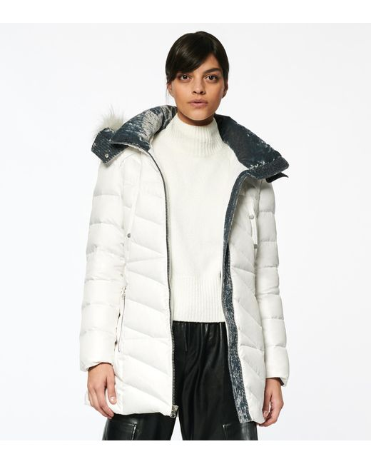 Andrew Marc White Shirley Synthetic Down Puffer Jacket