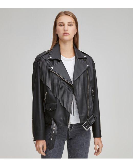 Andrew Marc Black Zariah Fringe Moto Jacket