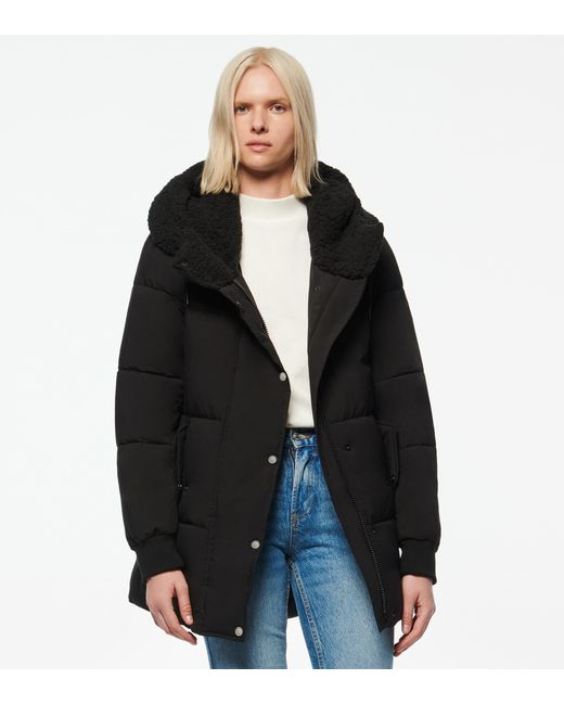 Andrew Marc Black Sarawee Synthetic Down Sherpa Lined Puffer