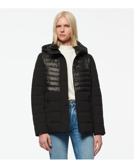 Andrew Marc Black Macoya Synthetic Down Hooded Puffer