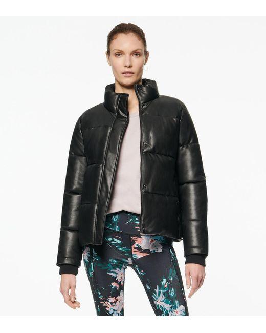 Andrew Marc Black Alex Faux Leather Super Puffer Jacket