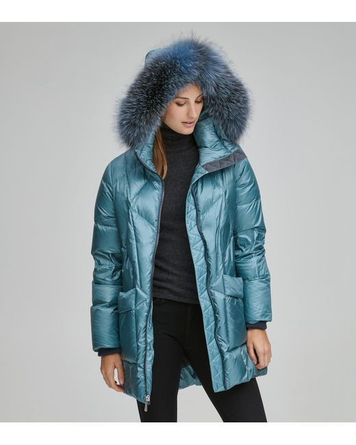 Andrew Marc Blue Mckenna Down Quilted Jacket