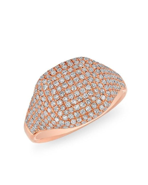 Anne Sisteron - Multicolor 14kt Rose Gold Diamond Cushion Pinkie Ring - Lyst