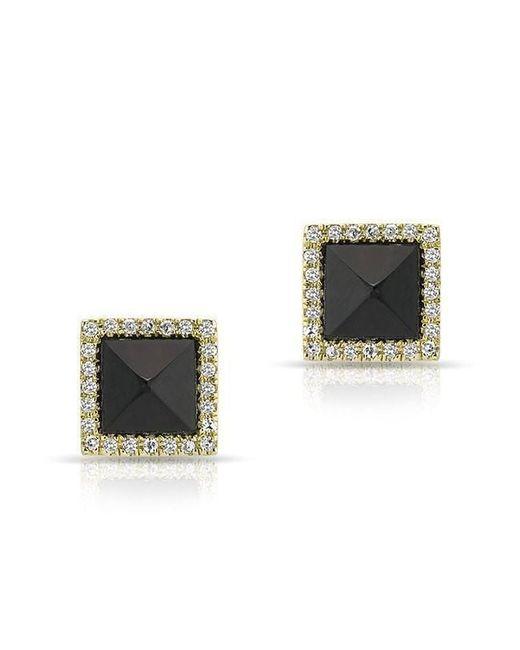 Anne Sisteron - Metallic 14kt Yellow Gold Black Onyx Diamond Pyramid Stud Earrings - Lyst
