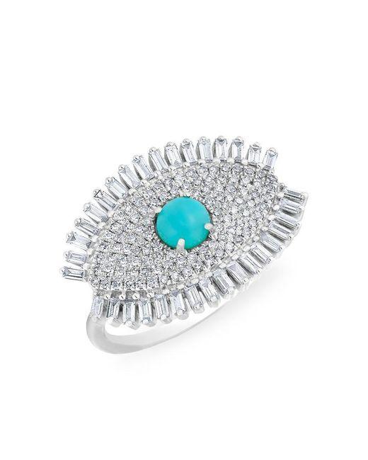 Anne Sisteron - Multicolor 14kt White Gold Baguette Diamond Turquoise Evil Eye Gypsy Ring - Lyst
