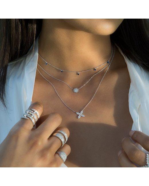 Anne Sisteron Metallic 14kt Rose Gold Diamond Flower Necklace